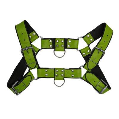 Addikt Smooth Leather Bulldog Harness: Green