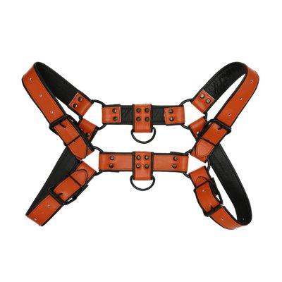 Addikt Smooth Leather Bulldog Harness: Orange